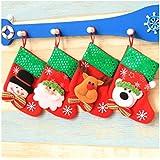 Kry Juego de 4papel belleza Mini calcetines de regalo de Navidad medias calcetines para colgar adornos de decoración muñeco de nieve botas de nieve de Papá Noel de Navidad para árboles de Navidad calcetines, 4 Patterns, 16*9*12cm
