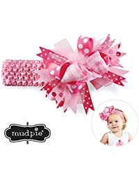 Mud Pie Baby-Girls Maribou Soft Crochet Bow Mesh Headband