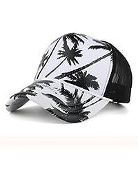 Rawdah Mujeres Hombres Coconut Tree Printing Gorra de béisbol Snapback Hip Hop Flat Hat (Negro)