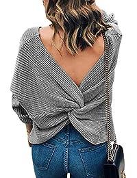 EMMA Damen Winter Frühling Sexy Casual V-Ausschnitt Pullover Loose  Rückenfrei Fledermaus Batwing Rücken Kreuz Lange Ärmel Sweater… d6d9d8b020