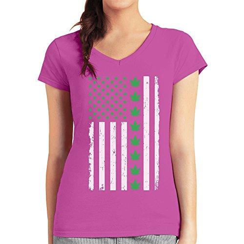Präsentidee US Flagge mit Hanfblatt Motiv Damen T-Shirt V-Ausschnitt wow rosa