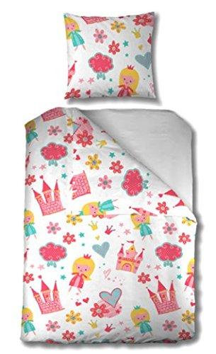 Aminata Kids - Kinder-Bettwäsche-Set 135-x-200 cm Prinzessin-Motiv für Princess Königin König-s-Krone Tiara 100-% Baumwolle Renforce rot-e rosa-ne