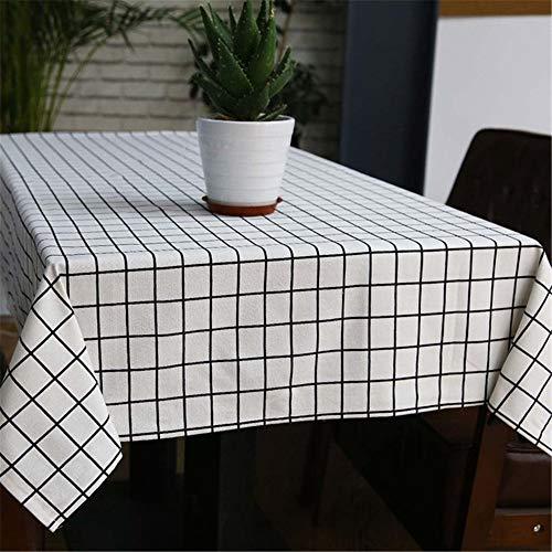 SONGHJ Sytlish Leinen Tischdecke Landhausstil Plaid Print Multifunktionale Rechteck Tischabdeckung Tischdecke Home Küche Dekoration B 140x200 cm (Tischdecken Dollar Store)