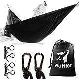 Wulfler Ultraleichte Outdoor Hängematte | Fallschirm Nylon | 200 kg Traglast | inklusive Befestigung 2X Karabiner und 2X Seile | ideal für Reise Strand Trekking Camping Hammock (Schwarz)