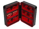 Fleur Royale Brillenbox Mehrbrillenetui Brillenetui Traveler für bis zu 6 Brillen (schwarz/rot) Größe 180x240x83mm robust & edel!