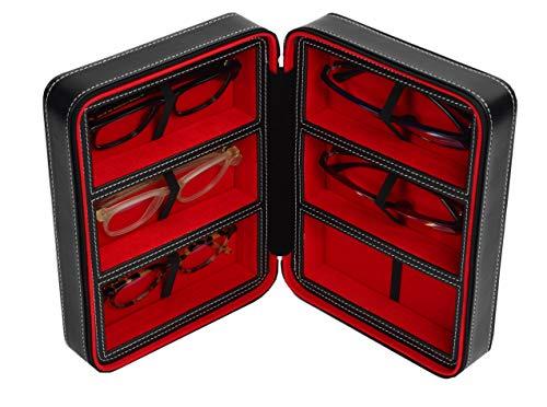 Brillenbox Mehrbrillenetui Brillenetui Traveler für bis zu 6 Brillen (schwarz/rot) Größe 180x240x83mm robust & edel!