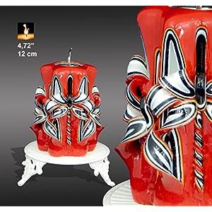 Geschnitzte Kerzen von Monna Kerzen, Ferrari Kerzen, schwarze und rote Kerze