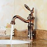LHbox Euro Kupfer antik Wasserhahn antiken vergoldete Wasserhähne Jade Marmorwaschbecken, Warmes und Kaltes Wasser Hähne