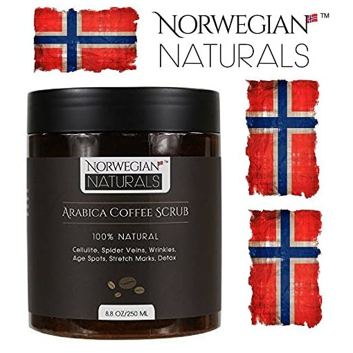 Coffee Scrub Arabica 500g Coffee Scrub Organic For Face & Body Exfoliating Cellulite Reduction Eczema and Acne Varicose Veins Rosacea Stretch Marks Ageing Skin 17.6 Oz/ 500 grams by Norwegian Naturals