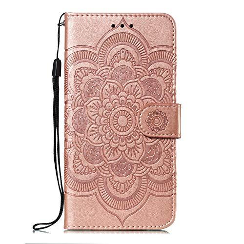 Coopay für Sony Xperia 10 Plus Handy Schutzhülle,Klapphülle Lederhülle Standfunktion Kartenfächer im Orientalischen Mandala Sonnenmuster Henna Ornament Muster Brieftasche,Rosegold + Schlüsselband Top 10 Skin Fällen