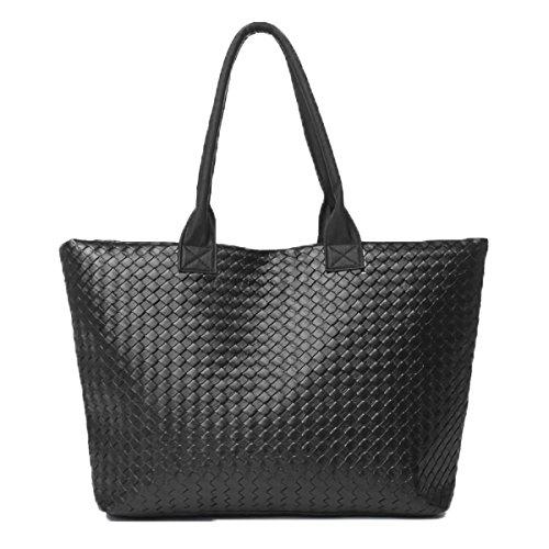 Borsa donna a mano shopping bag MWS AHEAD modello Jolie da spalla trama a maglia eco pelle. (NERO)
