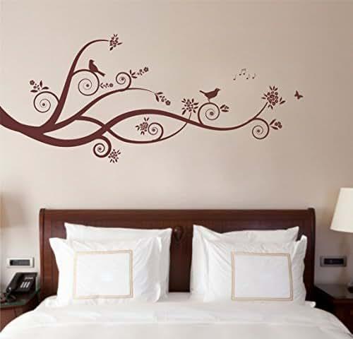 Large tree design branches birds matt vinyl wall art sticker