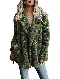 bf776aab8aef OranDesigne Damen Mantel Plüsch Jacke Revers Faux Wolle Warm Winter Outwear  Stylische Zweireiher Übergroße Coat mit