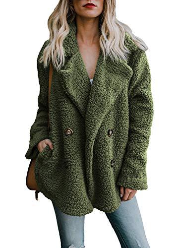 OranDesigne Damen Mantel Plüsch Jacke Revers Faux Wolle Warm Winter Outwear Stylische Zweireiher Übergroße Coat mit Taschen Grün DE 36