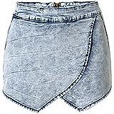 SaiDeng Pantalones Cortos Irregular Cruzar Alta Subida Para Mujer Zarco 32