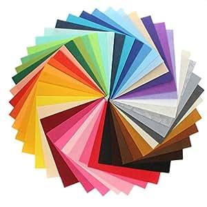 Yeelan Feuilles de tissu en feutrine 45pcs réglées pour l'artisanat de bricolage (couleur assortie, carré, 15x15cm / 5.9x5.9IN)