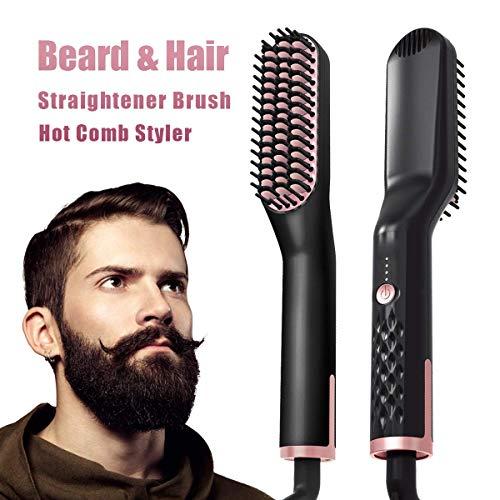Bartglätter,Haarglätter Bürste für Frauen und Männer-Premium-Anti-Scald Mens Electric Ionic beheizt Bart Haarglättung bürste Multifunktions-Haarstyler mit LED-Temperaturanzeige (Black+Gold)