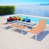 UnfadeMemory Juego de Sofás de Jardín Exterior,Muebles de Jardín Terraza Balcón o Patio,Aluminio y WPC (Tipo1,5 Piezas)