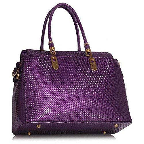 Borsa A Tracolla Tote Bag Da Donna Trend Star Stile Celebrity Donna Lucida Hardware In Ecopelle Viola
