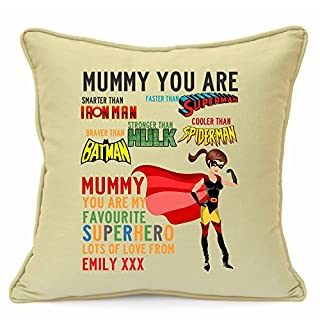 Personalised Presents Gifts For Step Mum Mummy Mother From Son Daughter Kids Birthday Mothers Day Christmas Xmas Disney Superhero Mum Spiderman Superman Hulk Batman Ironman Cushion Cover 18 Inch 45 Cm Special Unique Ideas