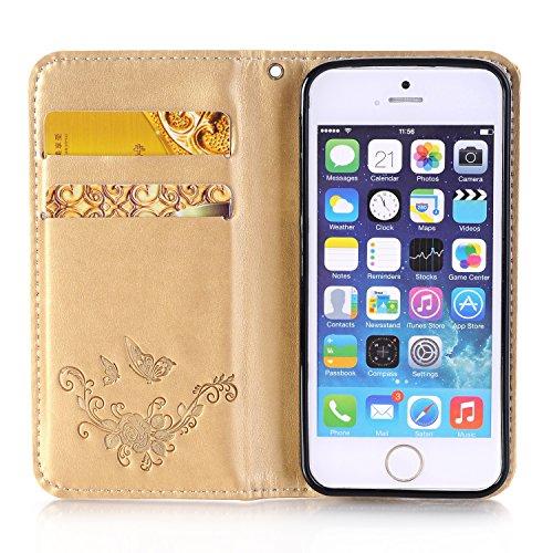 JIALUN-Telefon Fall Premium PU Leder Brieftasche Case, Folio Flip Stand Case Cover mit Halter & Card Slots & Magnetverschluss für iPhone 5 & 5s & SE ( Color : Brown ) Gold