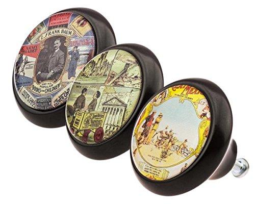 Set 0222 Vintage Nostalgie Werbung Kino 3er Keramik mit moderner kuppelförmiger Oberfläche in glänzender edler Glas Optik in verschiedenen Designs und Farben Möbelknöpfe - Swami Designer Factory (Weihnachten Dekorationen Großhandel)