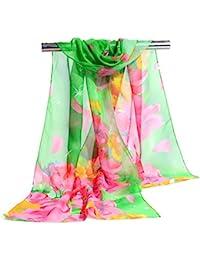 Mme mousseline de soie d'été foulards imprimés foulards en mousseline de soie argent