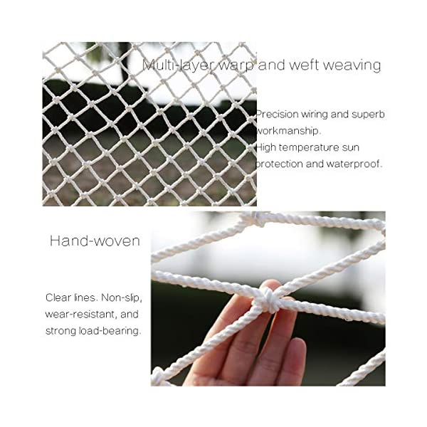 Freight Net,Playground Rope Net, Stair Children Protection Netting Balcony Cats Safety Nets, Cargo Rope Ladder Truck Trailer Netting White Nylon Net Banister Protection Fence Playground Decoration Mes SFMND ▲Multi-use Protection Net:Family balcony and railing balcony stairs safety net banister stair anti-cat climbing, anti-high fall and other intensive protection; Wall ,home, theme party hotel, guesthouse, cafe, bookshop, restaurant, decoration,hanging ect. ▲Characteristics of Decoration Net: Soft material, light mesh, multi-layer warp and weft, precise wiring, workmanship; high temperature sunscreen, waterproof; clear lines, anti-slip endurance and anti-wear. ▲Ceiling net, decorative net, shed partition net, photo wall, hanging net, stair safety net and protective net. 3