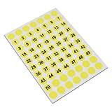 7500 Stück / Lot 1cm Runde Gelbe Zahl Aufkleber Umbauten (1-100) Einzelverkauf Selbstklebendes Kleid Größen Aufkleber Kreis Identifikations Aufkleber Numerieren (1-50 Nummer)