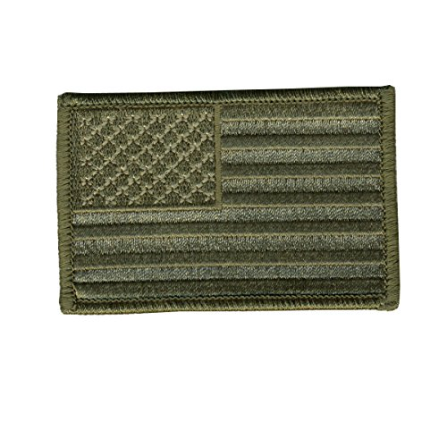 """Hot Leathers, WOODLAND STYLE AMERICAN FLAG, High Quality Iron-On / Saw-On, Heat Sealed Backing Rayon PATCH - 3"""" x 2"""""""