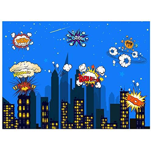 Fotografie Hintergrund, 2.2 x1.5 m Superhero Cityscape Hintergrund für Kindergeburtstags Party und Verein Ereignis Dekoration