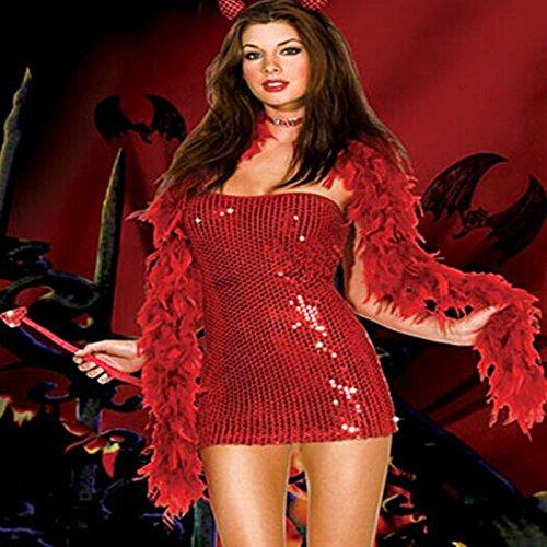 Gorgeous Halloween-Hexekostüm Pailletten-Kleid Teufel Kleid Gothic Kleid Uniformen kleine Hexe -Kostüm -Party Nachtclub (Teufel Pailletten Kostüm)