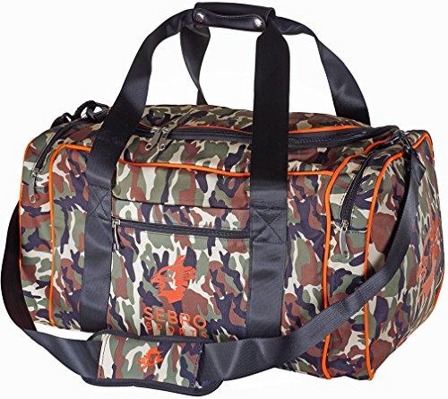 SEBRO SPORTS Große Sport-Tasche, Reise-Tasche für Damen und Herren | Praktische GYM BAG mit vielen Fächern, Schultergurt, Tragegurt für Fitness, Sport und Reisen | - 72 Liter im trendigen Neon und Camouflage Design