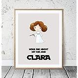 Kinderposter Namensbild Star Wars Prinzessin Leia - Geburtsdruck mit Wunschname für Mädchen, Geschenkidee zur Geburt, Taufe, Geburtstag; Kinderzimmer Wandbild personalisiert - ungerahmt