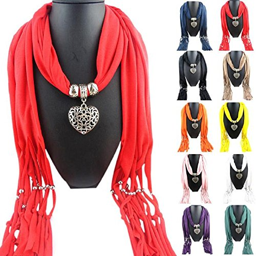 Women Scarves, Rcool Women Necklace Scarf with Heart Gemstone Lady Tassel Wraps Shawl Scarf Warm Scarves