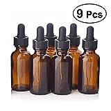 Frcolor Botellas de vidrio para aceites esenciales, paquete de 9 30 ml botella de ámbar con cuentagotas y gorro