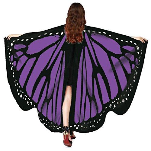 (schmetterling kostüm, HLHN Frauen Schmetterling Flügel Schal Schals Nymphe Pixie Poncho Kostüm Zubehör für Show / Daily / Party (Dunkel Lila))