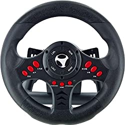 Subsonic - Volante Racing Wheel Universal, Paletas Para Cambio Y Pedales (PS4, PS4 Slim, PS4 Pro, Xbox One, Xbox One S, PS3)