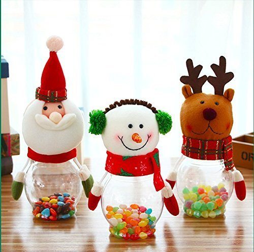 treasure-house Set von 3Weihnachten Candy Jar Plüsch & Kunststoff Santa Claus Schneemann Elch Bär Cute Zucker Box Sparschwein Coin Behälter Dekorative Zucker für Urlaub