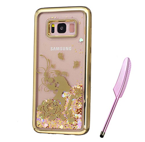 Galaxy S8 Plus Case, Golden Plating Design, Edaroo 3d Cool Flowing Liquid Bling Sparkle Glitter Style Beautiful Rose Flower Fairy Girls Pattern Slim Thin FitsSoft Rubber TPU Bumper Protective Case Cover for Samsung Galaxy S8 Plus