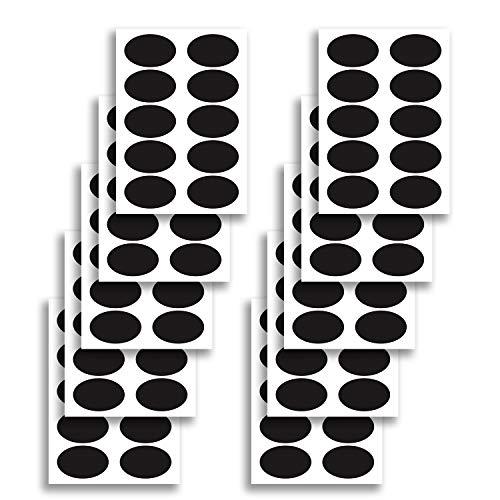 100 x ovale Tafel Jar Label - Chalk Board Spice Vinyl Aufkleber - benutzerdefinierte schwarz Hochzeit Tag - Lebensmittel Marker leer Mini Runde Küche Namensschild Oval Spice