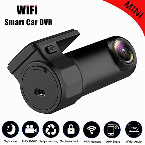 kingko Mini Versteckte Video Driving Recorder Einstellbares Objektiv Full HD 1080 P, WiFi Auto DVR Dashcam Video Recorder Digitale Registrar Camcorder (Schwarz) Fps Ntsc Dvr