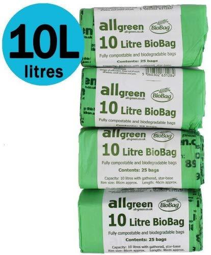 100x 10L Liners biodegradabili–Biodegradabili da 10litri, cibo spazzatura en 13432–Spazzatura, compostabile con Guida al compostaggio All-Green