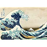 Reproduction d'art 'La grande vague de Kanagawa', de Katsushika Hokusai, Taille: 91 x 61 cm