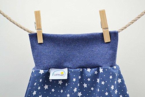 Strampelsack aus Bio-Baumwolle, gefüttert, Schlafsack zum Pucken, Babys und Kinder, 62 68, für Bett Kinderwagen, blau weiß Sterne, Mädchen Jungen