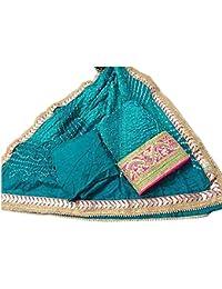 Jaipuri Rajasthani Suit Art Silk Bandhej Gota Patti Work Blue Chill Color