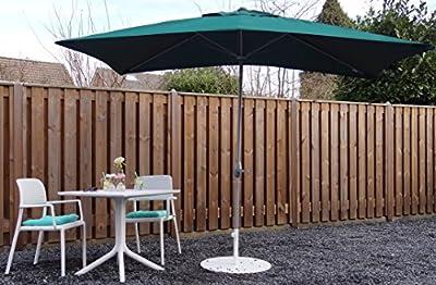 Parasol sombrilla | Verde| 300 x 200 cm (3 x 2 m) | Rectangular | SORARA | Poliéster de 180 g/m² (UV 50+) | Mecanismo de péndulo y manivela (excl. base)