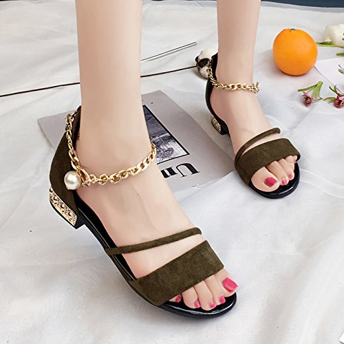 RUGAI-UE Le donne estate retrò per calzatura fibbia scarpe piatte Army Green