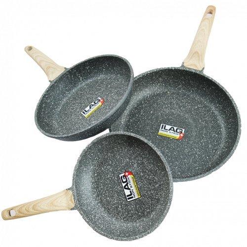 Coninx Stone Set de 3 Poêles en Aluminium avec Revêtement en Pierre - Ø 20 cm, Ø 24 cm et Ø 28 cm - Manches en Bois - 100% PFOA libre Coating ILAG Granistone - Appropriée pour tous feux