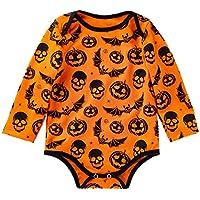 Ropa Bebe Hipster,(3-18M) bebé de Manga Larga Halloween Bone Bone triángulo túnicas de Calabaza,Amarillo,59,66,73,80